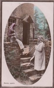 Home Again Fisherman Social History Farm Worker Returns Home Antique Postcard
