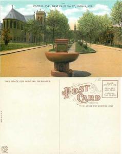 Capital Ave., West from 17th St., Omaha, Nebraska NE, Divided Back