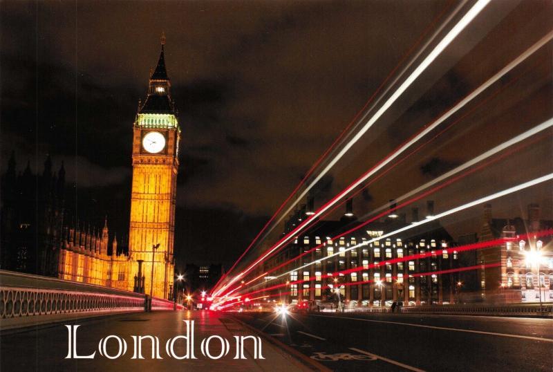 London Postcard, Big Ben & Westminster Bridge with traffic at night Q91