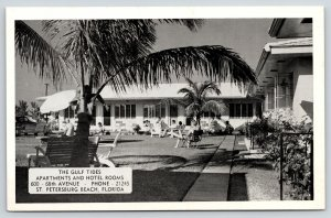 St Petersburg Beach Florida~Gulf Tide Apartments & Hotel~Guests on Lawn~1950 B&W