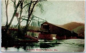 Boscobel, Wisconsin Postcard Wisconsin Bridge River Scene w/ 1910 Cancel