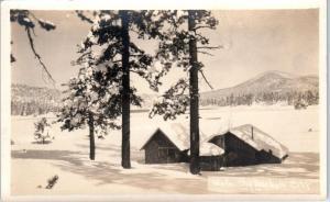 RPPC BIG BEAR LAKE, CA California   CABIN on LAKE in WINTER  c1920s Postcard