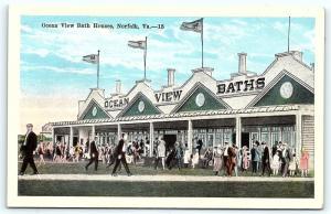 Postcard VA Norfolk Ocean View Bath Houses R46