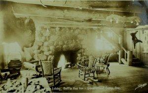 C.1900-10 RPPC Lobby Battle Axe Inn Government Camp, OR Vintage Postcard F76