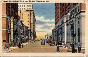 Vtg 1940s Market Street Looking North From 9th Wilmington Deleware DE Postcard