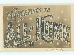 rppc Pre-1907 The Words - All At Home IN BIG LETTERS AC8020