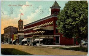 Bryan, Ohio Postcard CHRISTMAN HOTEL w/ Court House Building View 1914 Cancel
