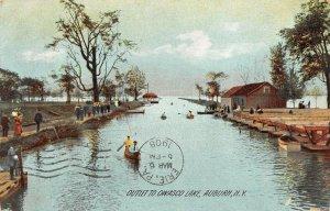 LP55   Auburn  New York Postcard  Outlet to Owasco Lake