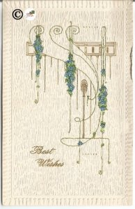 Very Mod Looking Textured Linen Look Forget Me Not Swags Vintage Postcard