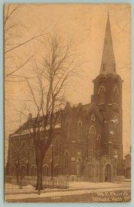 White Hall Illinois~Mid-Winter @ United Methodist Episcopal Church~Sepia~1917 PC