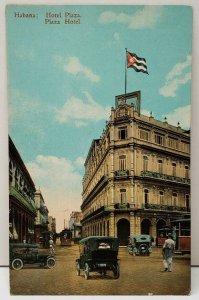 Cuba Habana Hotel Plaza, Plaza Hotel Rare Trolleys Cars Pedestrians Postcard C13
