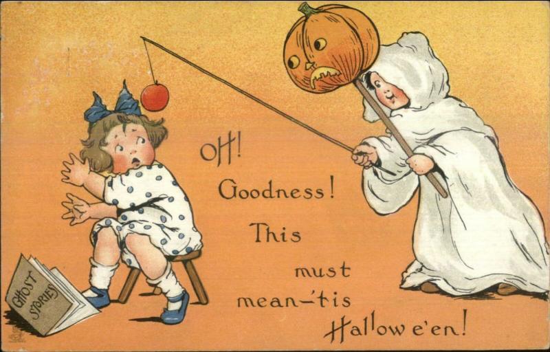 Halloween - TUCK Series #188 Boy as Ghost Scares Girl c1910 Postcard