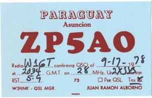 QSL, ZP5AO, Paraguay, 1978