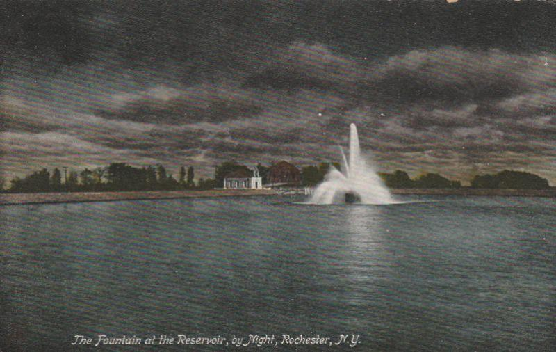 Fountain at Reservoir at Night Highland Park Rochester New York pm 1907 - DB