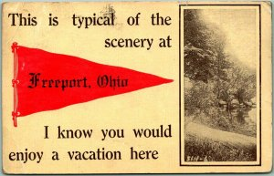 Vintage 1912 FREEPORT, Ohio Pennant Greetings Postcard Typical of the Scenery