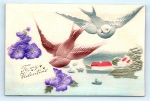 Postcard Valentines Heavy Embossed Birds Delivering To My Valentine I4