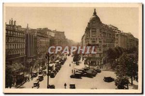 Paris Old Postcard Carrefour Richelieu Drouot Boulevard Haussmann and Italians