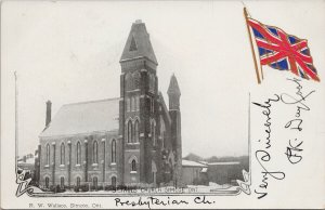 St. Pauls Church Simcoe Ontario ON Patriotic Flag c1905 RW Wallace Postcard F67