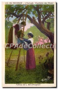 Old Postcard En Provence Oulivado the picking olives