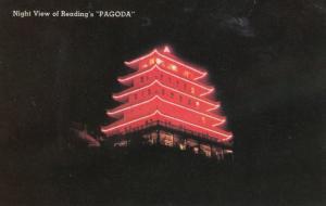 READING , Pennsylvania , 50-60s ; PAGODA at night