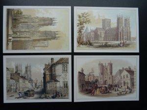 Yorkshire Collection 4 x YORK & YORK MINSTER c1980s Postcard