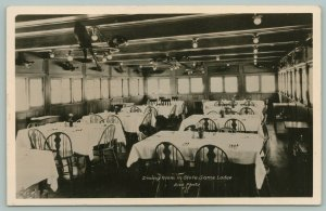 Custer SD Dining Room~Trophies Hang From Ceiling Lamp~State Game Lodge~RPPC 1934