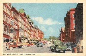 King Street Scene, Saint John, New Brunswick, Canada 1952? Vintage Postcard