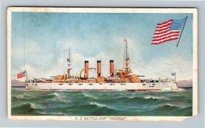 United States Navy Battleship Virginia Vintage Postcard