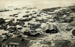 singapore, Panorama Harbour Fishing Boats (1910s) RPPC Postcard