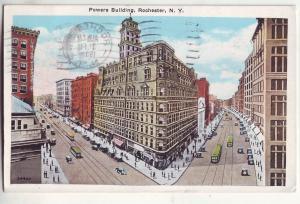 P627 JLs 1932 autos trolley,s street scene power bldg rochester new york