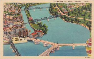 Ohio Zanesville Aerial View Of Y Bridge