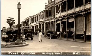 Colon, Panama RPPC Real Photo Postcard Front Street Looking North c1920s UNUSED