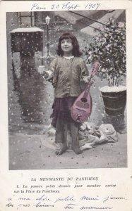 French Beggar Girl playing Mandolin under snowfall, 1900-10s (2)