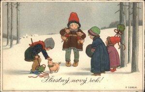 Pauli Ebner Children & Pigs Stastny Novy Rok c1915 Postcard SLOVAK NEW YEAR