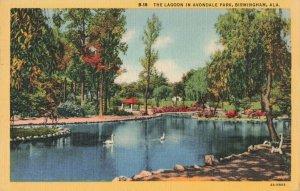 Circa 1949 Swans, Lagoon in Avondale Park, Birmingham, Alabama Linen Postcard