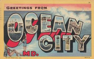 Large Letter Greetings OCEAN CITY , Maryland, 1953