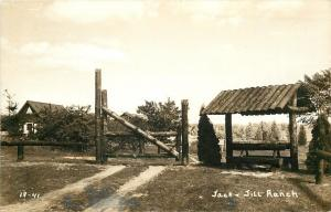 Montague Michigan~Jack & Jill Ranch~Log Entrance Gate~Bench~1943 Real Photo~RPPC