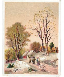 Victorian Chromo Card Country Scene Hunters Road Home Lithograph
