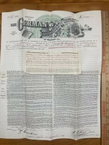 Antique 1886 German Insurance Company Freeport Ilinois Warsaw Indiana Contract
