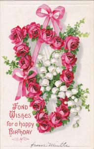 Birthday Harp With Red Roses  1910