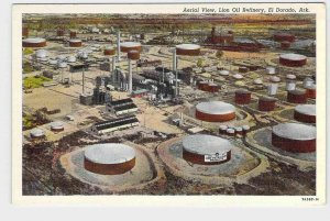 PPC POSTCARD ARKANSAS EL DORADO AERIAL VIEW LION OIL REFINERY WELLS PUMPS TANKS