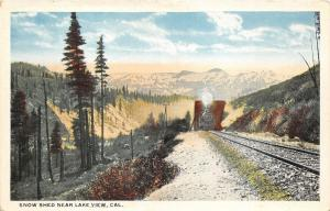 Lake View California~Snow Shed~Locomotive Approaches on Train Tracks~1920s Pc