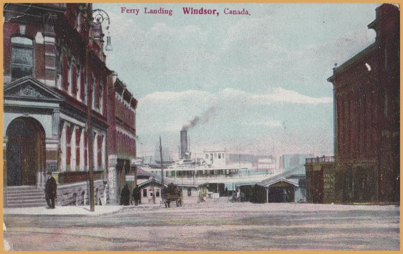 Ferry Landing, Windsor, Canada, Steamship in the background - 1909