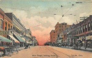 Tulsa OK Main Street Horse & Wagons Trolley Tracks Storefronts Postcard