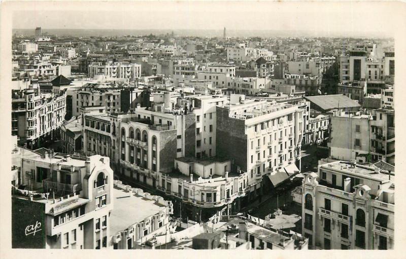 Morocco Casablanca town panorama RPPC