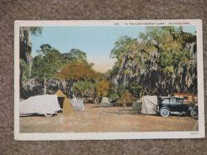 A Tin Can Tourist Camp, In Dixieland, unused vintage card (has corner crease)