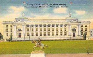 Court House & Municipal Building Wilmington Delaware 1940s linen postcard