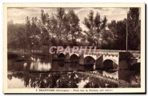 Old Postcard Brantome Bridge On The Dronne