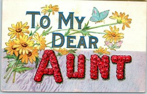 Vintage 1908 LARGE LETTER Greetings Embossed Postcard TO MY DEAR AUNT