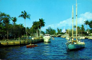 Florida Fort Lauderdale Boats Along New River 1968